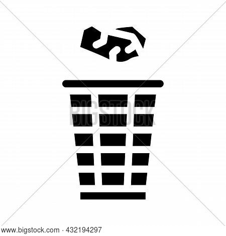 Throwing Rubbish Glyph Icon Vector. Throwing Rubbish Sign. Isolated Contour Symbol Black Illustratio