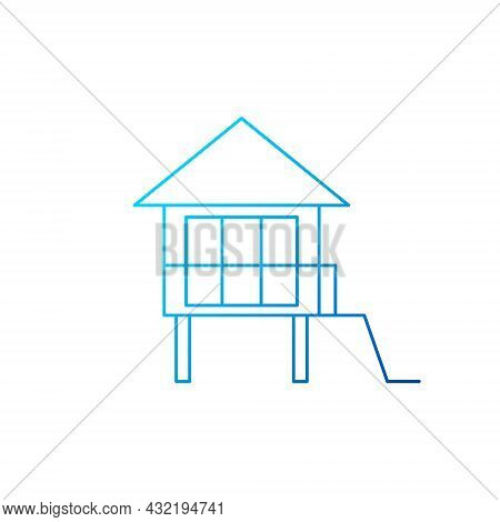 Water Bungalow On Stilt Outline Icon. Maldivian House. Exotic Vacation. Tropical Resort. Blue Gradie