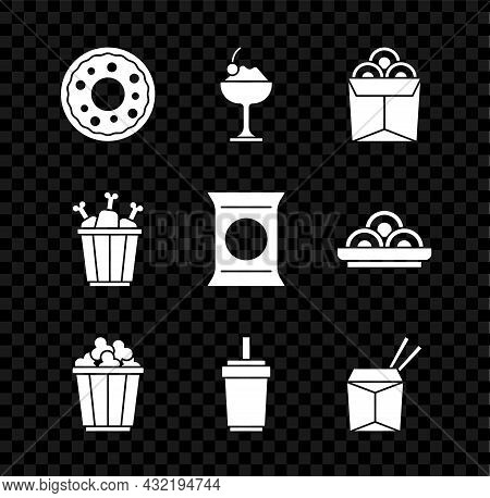 Set Donut, Ice Cream In Bowl, Noodles Box, Popcorn, Paper Glass With Straw, Asian Noodles And Chopst