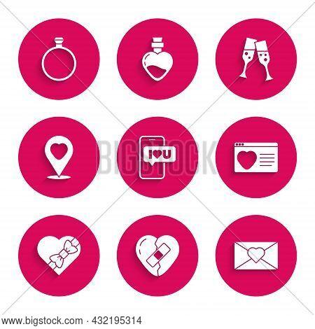 Set Mobile With Heart, Healed Broken, Envelope Valentine, Dating App Online, Candy Shaped Box, Locat