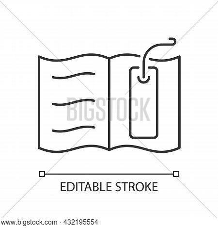 Bookmark Linear Icon. Thin Tool For Marking Read Page. Tracking Reader Progress In Book. Thin Line C