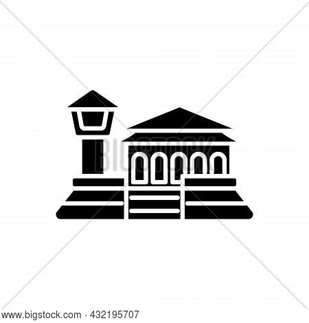 Fort Zeelandia Glyph Icon. Taiwanese Attraction. Oriental Architecture. Asian Item. Black Filled Sym