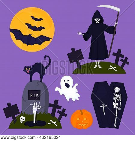 Happy Halloween Party Decoration. A Skeleton In A Coffin. Death With A Scythe. Cat, Ghost, Pumpkin,
