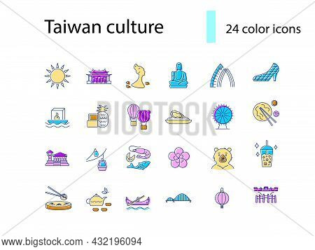 Taiwanese Culture Flat Icons Set. Taiwan Specialty. Features Of Asian National Culture. Color Filled