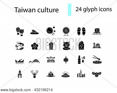 Taiwan Glyph Icons Set. Oriental Specialty. Taiwanese Recreational Customs. Black Filled Symbol. Iso