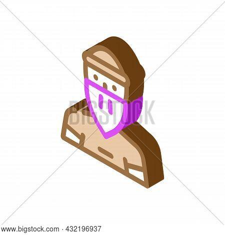 Bandit Man Isometric Icon Vector. Bandit Man Sign. Isolated Symbol Illustration