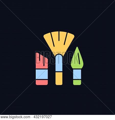Paintbrushes Rgb Color Icon For Dark Theme. Brush For Paint Applying. Drawing Tool. Art Classroom. I