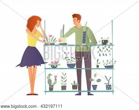 Young Man And Woman Takes Care Of Houseplants. Caring For Indoor Plants, Hobby. A Florist And A Cust