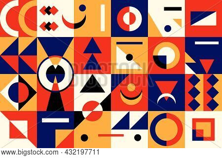 Abstract Geometric Shapes. Contemporary Minimalistic Modern Art Figures, Brutalism Graphic Template.