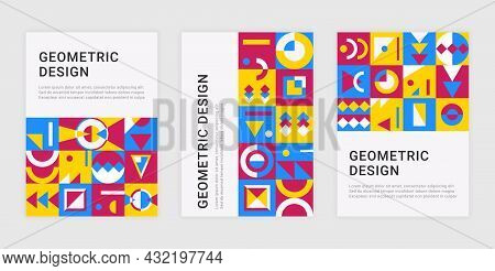 Contemporary Geometric Posters. Abstract Memphis Banners With Minimalistic Brutalism Shapes. Vector
