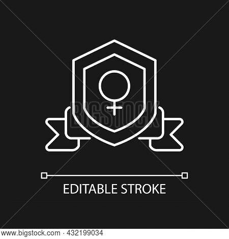 Feminist Organization White Linear Icon For Dark Theme. Advance Gender Equality. Feminist Movement.