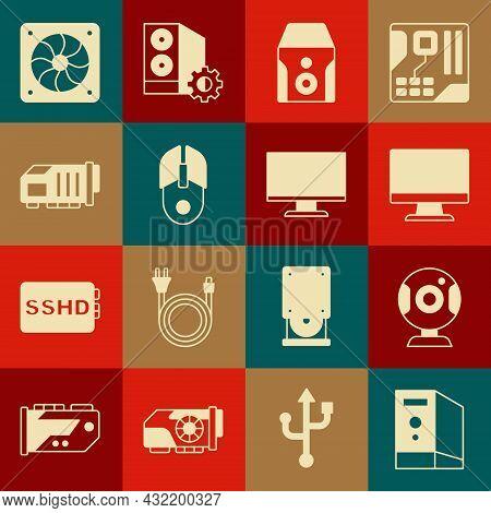 Set Case Of Computer, Web Camera, Computer Monitor Screen, Uninterruptible Power Supply, Mouse, Vide