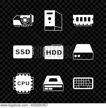Set Video Graphic Card, Case Of Computer, Ram, Random Access Memory, Processor With Cpu, Optical Dis