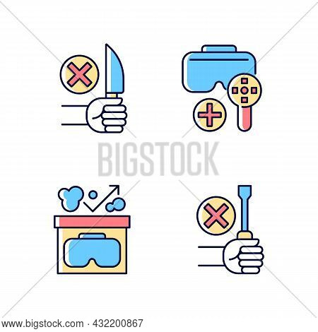 Vr Helmet Usage Guide Rgb Color Manual Label Icons Set. Vr Glasses Instructions And Restrictions. Is