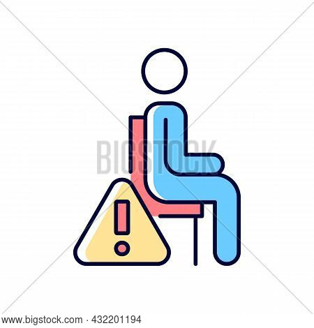 Remain Seated Rgb Color Manual Label Icon. Standing May Lead To Injuries And Discomfort During Exper
