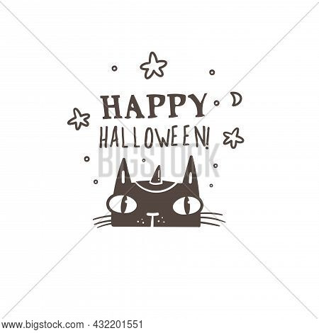 Doodle Card With Cute Cartoon Cat. Fabulous Fictional Character. Halloween Animal Poster. Vector Con