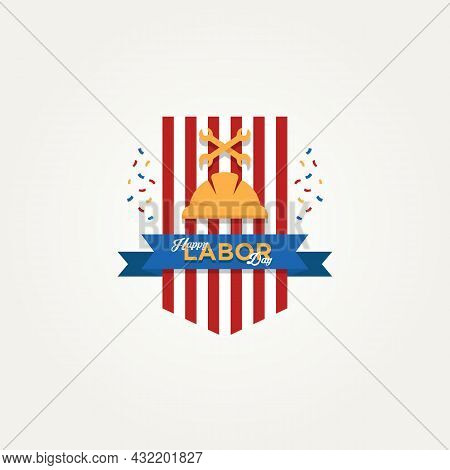 Happy Labor Day Emblem With Hard Helmet And Wrench Logo Icon Template Vector Illustration Design. Si
