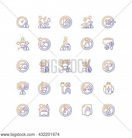 Virtual Reality Headset Usage Gradient Linear Vector Manual Label Icons Set. Thin Line Contour Symbo
