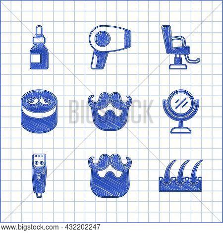 Set Mustache And Beard, Human Hair Follicle, Hand Mirror, Hair Clipper, Gel Wax For Styling, Barbers