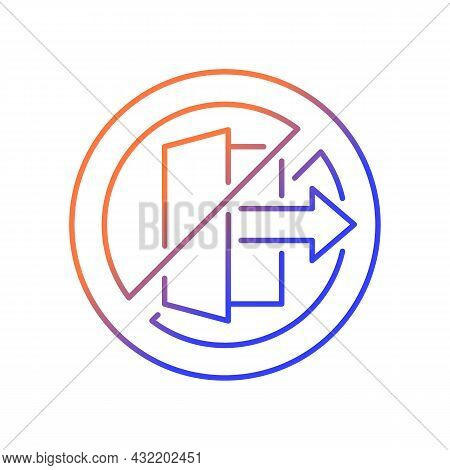 Do Not Use Outdoors Gradient Linear Vector Manual Label Icon. Designed For Indoors Usage. Thin Line