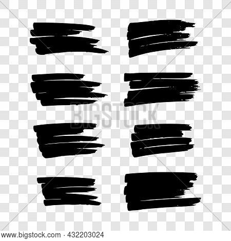 Scribble With A Black Marker. Set Of Eight Doodle Style Various Scribbles. Black Hand Drawn Design E