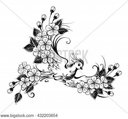 Artistically Drawn, Contour, Flying Bird With Wings Decorated With Flowers On White Background.