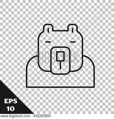 Black Line Polar Bear Head Icon Isolated On Transparent Background. Vector