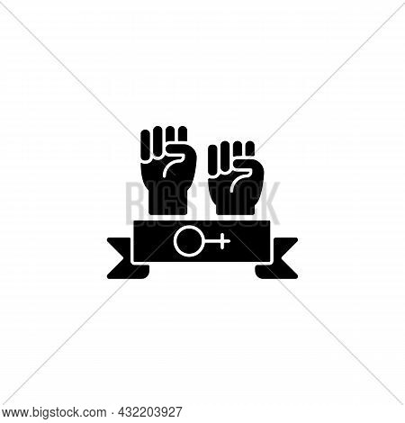 Women Community Black Glyph Icon. Support Equal Rights For Women. Feminist Solidarity. Fighting Sexi