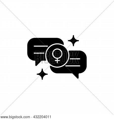 Female Bonding Black Glyph Icon. Strength For Feminine Gender. Supportive Sisterhood. Women Supporti