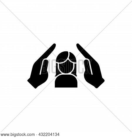 Women Protection Black Glyph Icon. Protect Girls Against Violence. Female Empowerment. Women Safety.