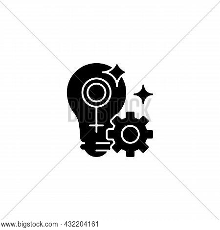Fulfill Female Potential Black Glyph Icon. Feminist Activist. Raising Woman Status. Creating Opportu