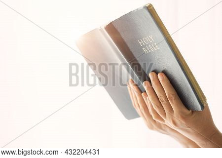 Asian Girl Praying With Computer Laptop, Church Services New Normal Concept, Home Church During Quar