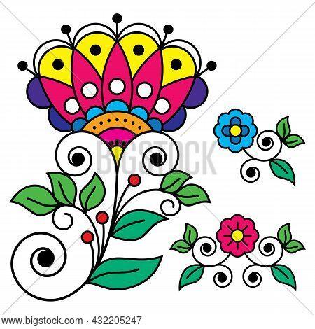 Scandinavian Folk Art Flower Vector Design Set, Retro Floral Patterns Inspired By The Traditional Ar