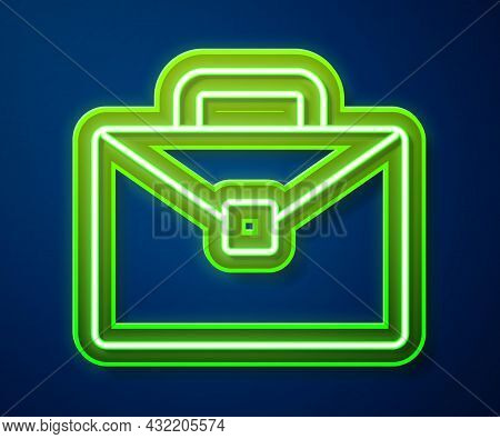 Glowing Neon Line Briefcase Icon Isolated On Blue Background. Business Case Sign. Business Portfolio