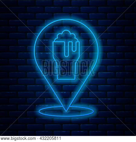 Glowing Neon Line Alcohol Or Beer Bar Location Icon Isolated On Brick Wall Background. Symbol Of Dri