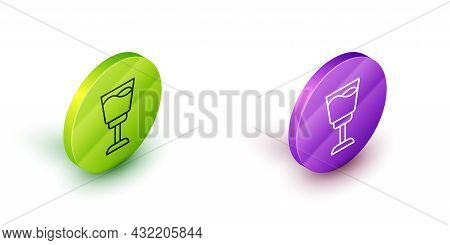 Isometric Line Wine Glass Icon Isolated On White Background. Wineglass Sign. Green And Purple Circle