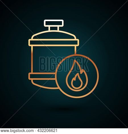 Gold Line Propane Gas Tank Icon Isolated On Dark Blue Background. Flammable Gas Tank Icon. Vector