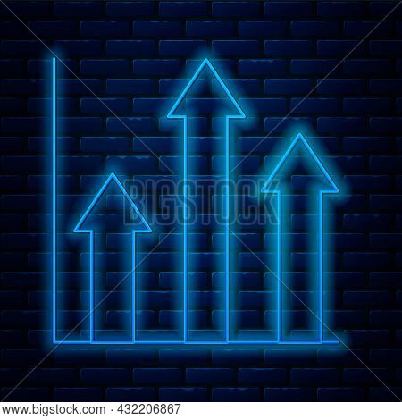 Glowing Neon Line Pie Chart Infographic Icon Isolated On Brick Wall Background. Diagram Chart Sign.