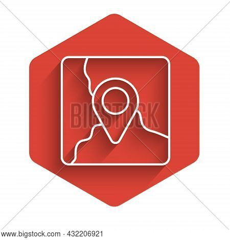 White Line Folded Map With Location Marker Icon Isolated With Long Shadow Background. Red Hexagon Bu