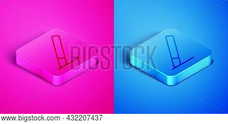 Isometric Line Medical Surgery Scalpel Tool Icon Isolated On Pink And Blue Background. Medical Instr