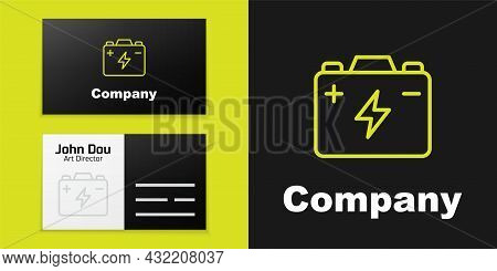 Logotype Line Car Battery Icon Isolated On Black Background. Accumulator Battery Energy Power And El