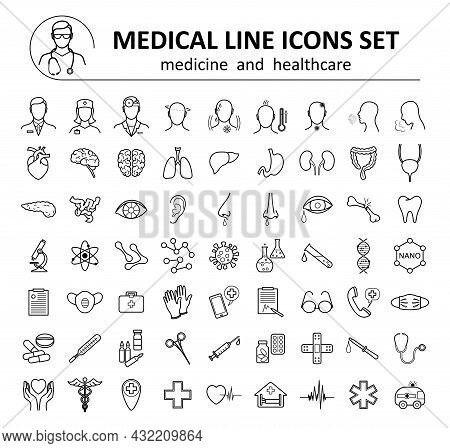 Medical Icons And Symbols Set. Collection Of Design Elements For Medicine And Healthcare. Line Icon
