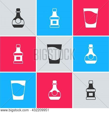Set Bottle Of Cognac Or Brandy, Whiskey Bottle And Shot Glass Icon. Vector