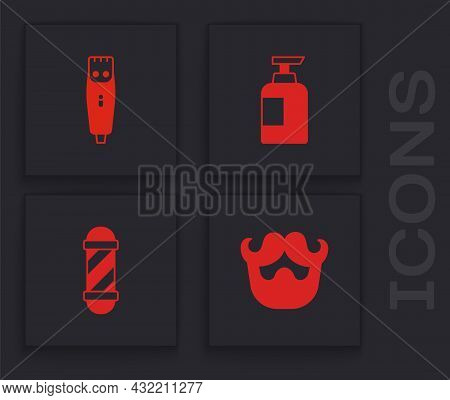Set Mustache And Beard, Hair Clipper, Bottle Of Shampoo And Classic Barber Shop Pole Icon. Vector