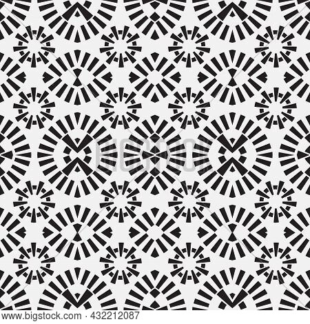Seamless Geometric Pattern. Monochrome Wallpaper. Abstract Background With Repeating Geometric Shape