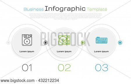 Set Line Floppy Disk, Vinyl Player And Music Synthesizer. Business Infographic Template. Vector
