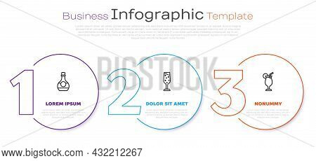 Set Line Bottle Of Cognac Or Brandy, Glass Champagne And Cocktail. Business Infographic Template. Ve
