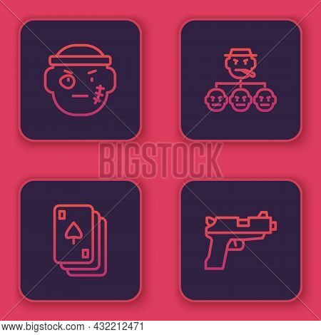 Set Line Bandit, Playing Cards, Mafia And Pistol Or Gun. Blue Square Button. Vector