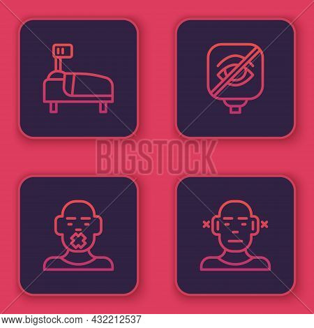 Set Line Hospital Bed, Head Of Deaf And Dumb, Blindness And Deaf. Blue Square Button. Vector