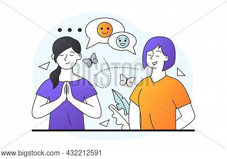 Positive Thinking Concept. Happy Women With Stable Psyche And Emotional State. Mental Health. Friend
